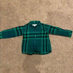 Burberry Green Plaid shirt, size 2Y